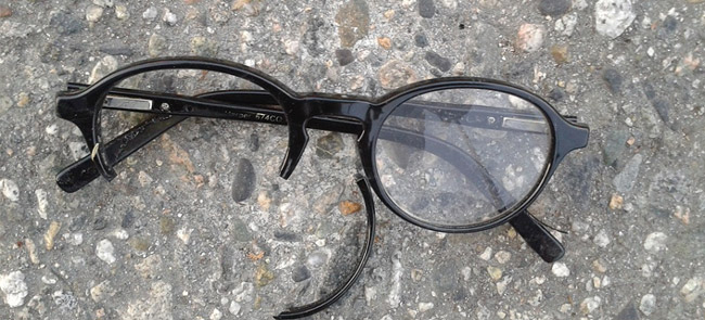 Damaged and broken glasses